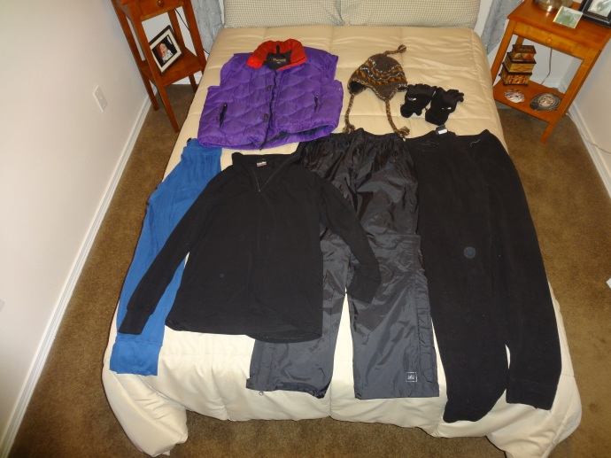 Cold Weather Additions (Light Ski Pants, Wool Hat, Gortex Gloves, Down Vest, Polyproylene Long Underwear, Fleece Sweatpants)