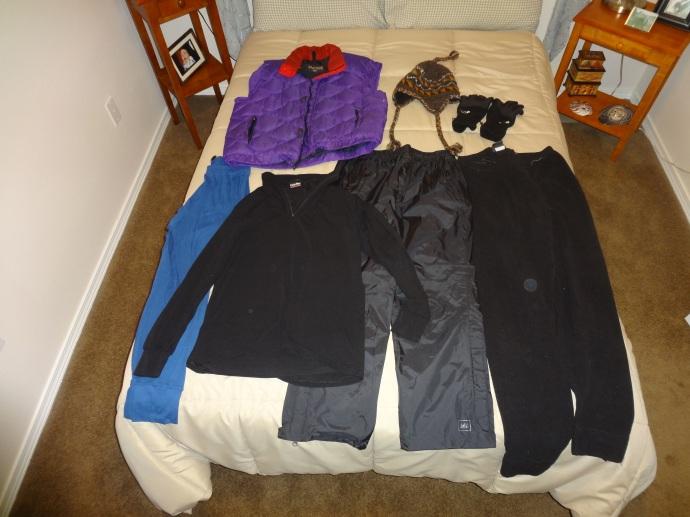 Cold Weather Additions (Light Ski Pants, Wool Hat, Gortex Gloves, Down Vest, Polyproylene Long Underwear, Fleece Sweatpants)
