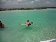 Swimming in Lake Bacalar