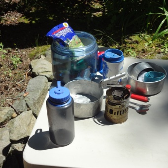 Cook Kit opened with Stove Removed, Bear Vault and Water Bottle
