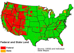 Federal Public Lands in Red